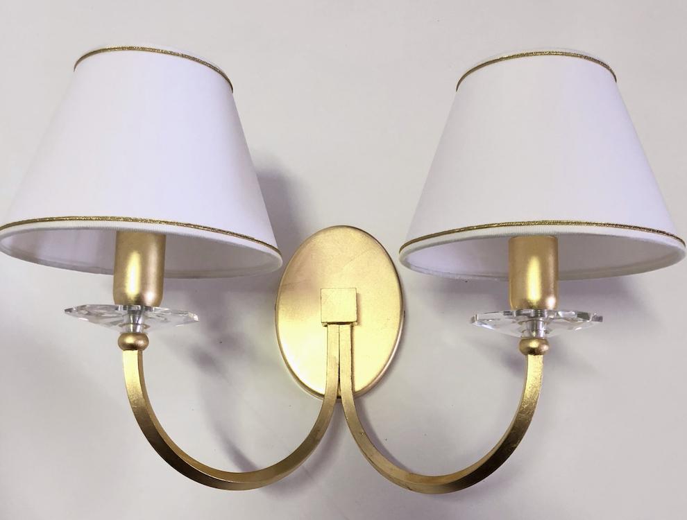 Applique daiana a luci foglia oro arredamento bauhaus